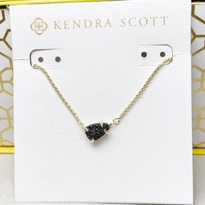 New Kendra Scott Gold Black Drusy Helga Necklace